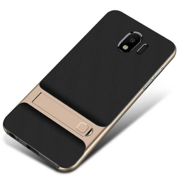 For Samsung Galaxy J8 Kılıf Standlı Koruma Hard Case Altın
