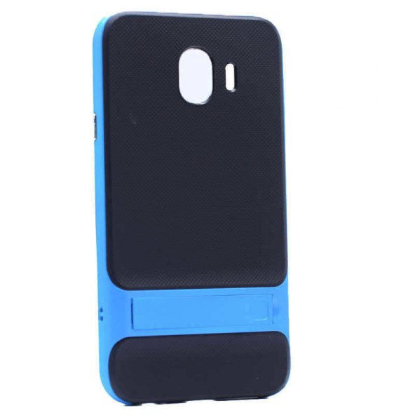 For Samsung Galaxy J4 Kılıf Standlı Koruma Hard Case Mavi