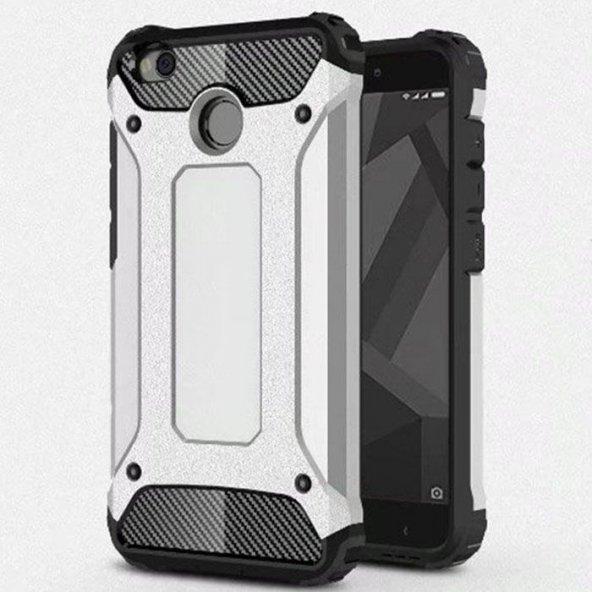 Xiaomi Redmi 4x Kılıf Shockproof Zırh Koruma Gümüş
