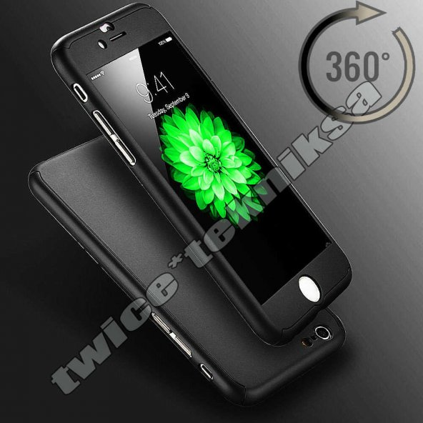 iPhone 6 6S KILIF 360 ° TAM KORUMA CAMLI SİYAH