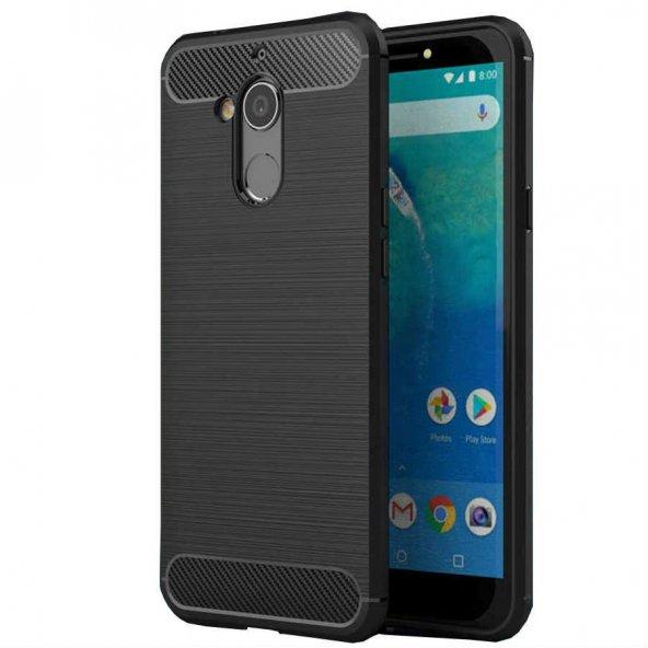 General Mobile 8 Kılıf Room Silikon Kılıf Siyah + Temperli Ekran