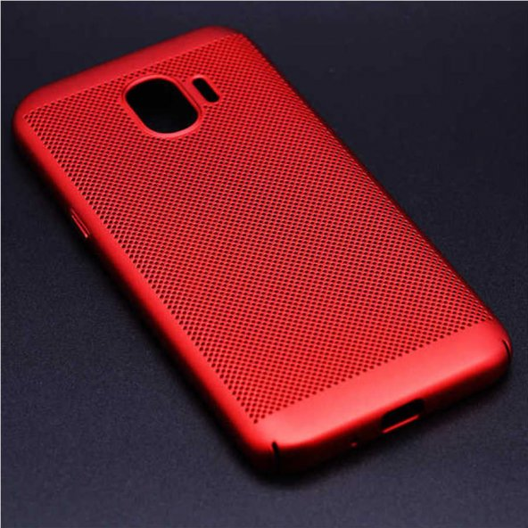 For Samsung Galaxy J2 Pro 2018 Kılıf Delikli Rubber Kapak Kırmızı