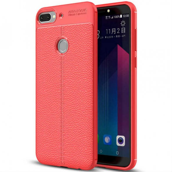 HTC Desire 12 Plus Kılıf Deri Görünümlü Silikon Kılıf Kırmızı