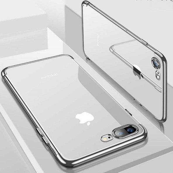 iPhone 7 Kılıf Dört Köşeli Lazer Silikon Gümüş