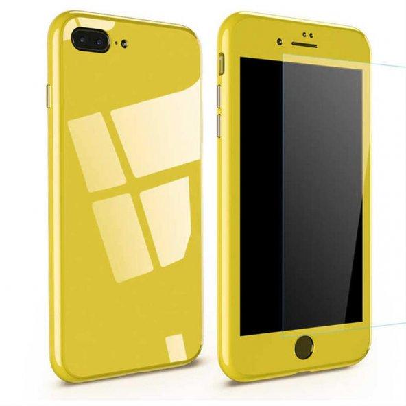 iPhone 8 Kılıf 360 Magnet Case Sarı