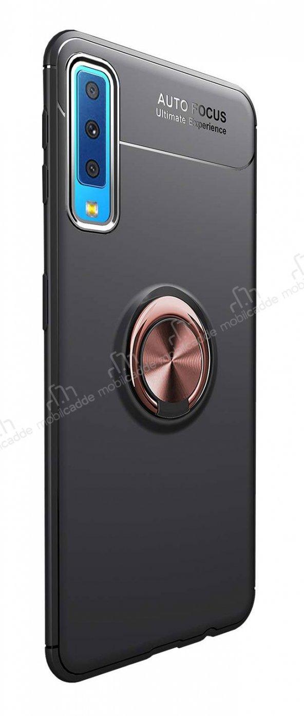 Eiroo Samsung Galaxy A7 2018 Standlı Rose -Siyah Silikon Kılıf