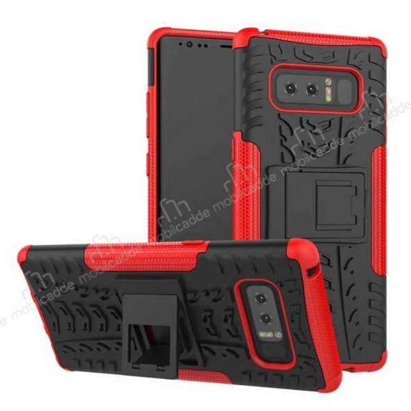 Samsung Galaxy Note 8 Süper Koruma Standlı Kırmızı Kılıf