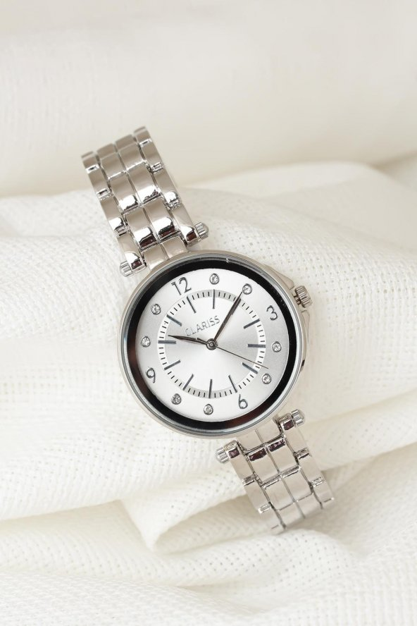 Silver Renk Metal Kordonlu Beyaz Renk Taşlı İç Tasarımlı Clariss Marka Bayan Kol Saati