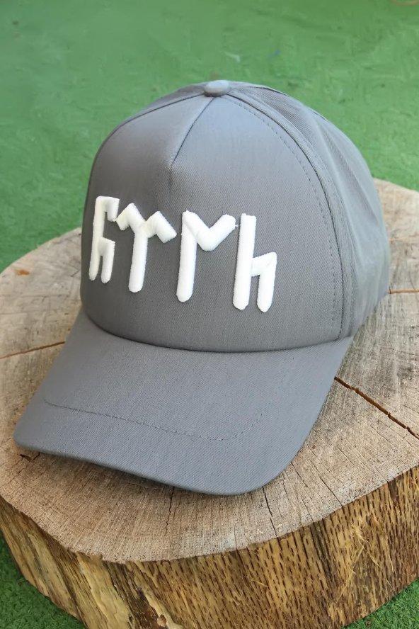 Göktürkçe Türk Yazılı Gri Renk Şapka