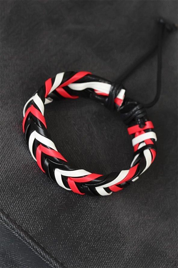 Kırmızı Beyaz Siyah Örgü Deri Erkek Bileklik