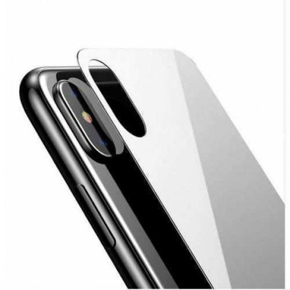 iPhone X Arka Koruyucu Kırılmaz Cam Ekran Koruyucu SİYAH