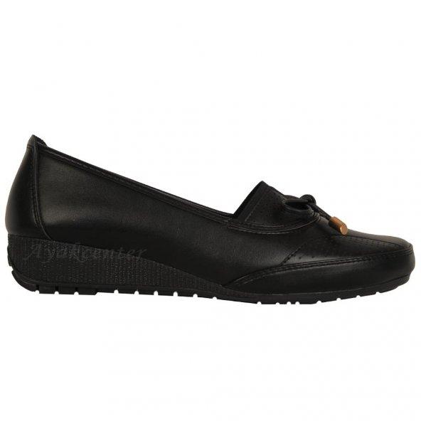 Wanetti 476 Siyah Ortopedik Rahat Günlük Bayan Ayakkabı
