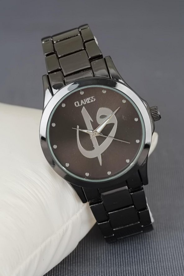 Siyah Renk Metal Kordonlu Elif Vav Figürlü Gümüş İç Tasarımlı Clariss Marka Bayan Kol Saati
