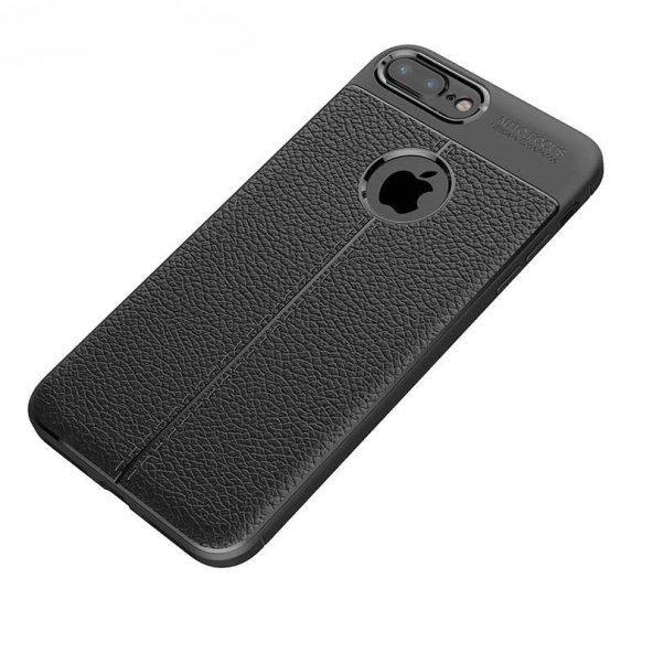 Apple iPhone 8 Plus Kılıf Niss Silikon Kapak Deri Görünümlü