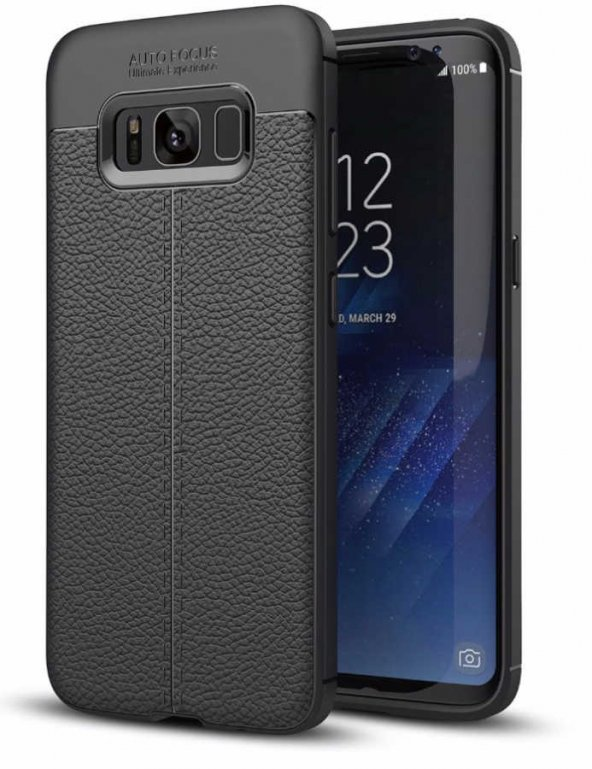 Samsung Galaxy S8 Kılıf Niss Silikon Kapak Deri Görünümlü