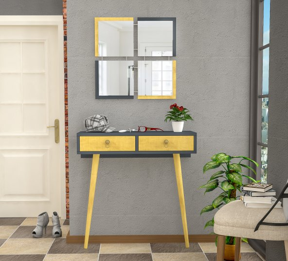 Stylish Bazalı Dresuar Sarı - Antrasit