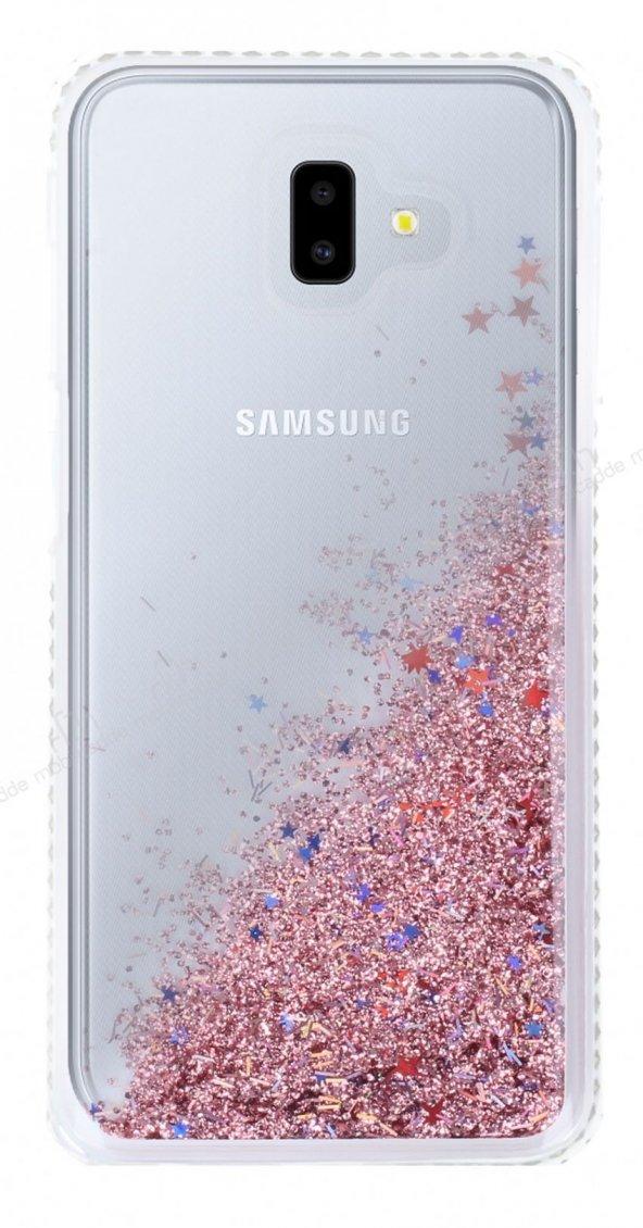 Samsung Galaxy J6 Plus Simli Sulu Rose Gold Rubber Kılıf