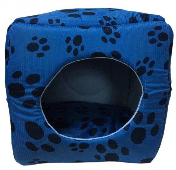 3 Fonksiyonlu Pati Desenli Büyük Kedi & Köpek Yatağı  (MAVİ RENK)