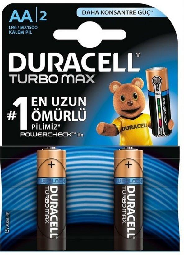DURACELL TURBO MAX ALKALINE AA KALEM PİL 2Lİ PAKET