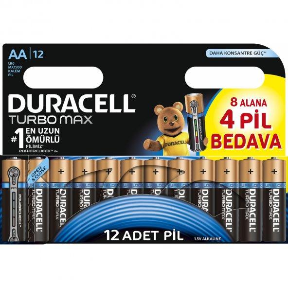 DURACELL TURBO MAX ALKALINE AA KALEM PİL (8+4) 12Lİ PAKET