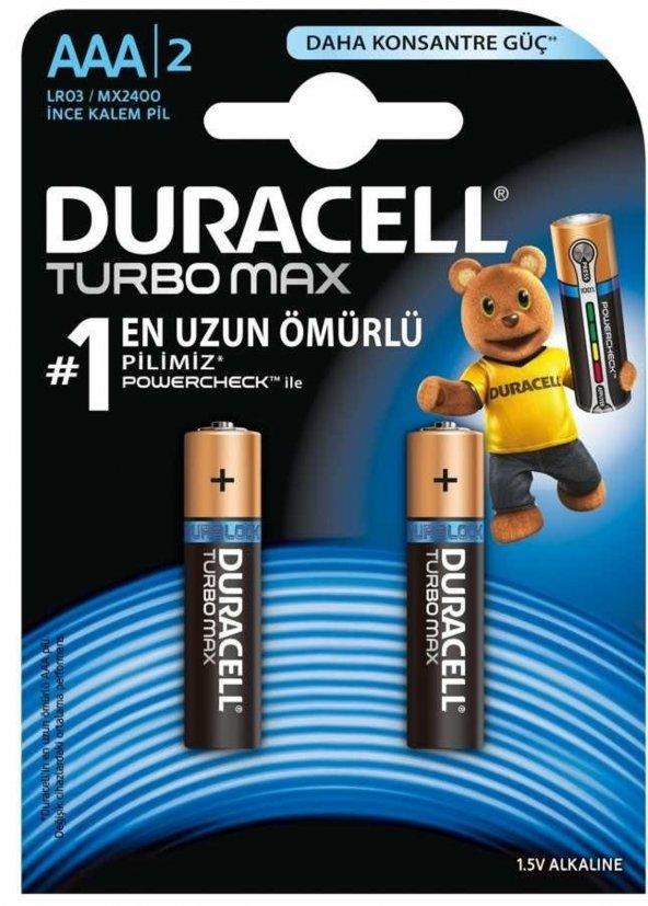 DURACELL TURBO MAX ALKALINE AAA İNCE KALEM PİL 2Lİ PAKET