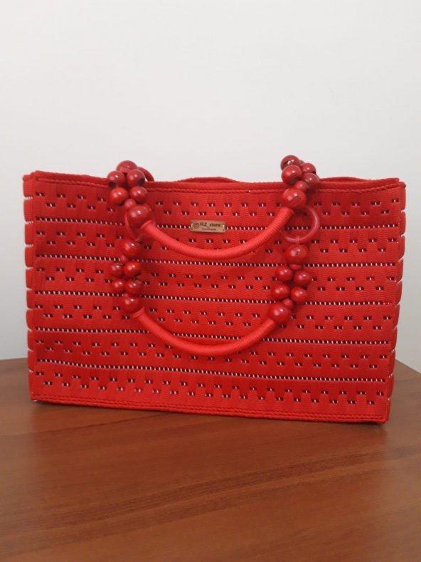 No 1 Kanvas üzeri el işleme bayan çanta ( Kırmızı )