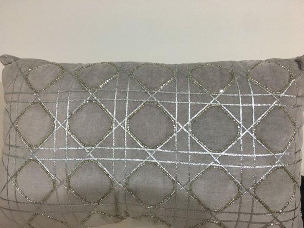 SadeHomeDecor lucky art açık füme taşlı yastık 50 cm