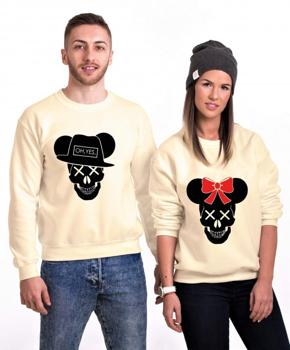 Tshirthane Skull Mause  Sevgili Kombinleri Sweatshirt