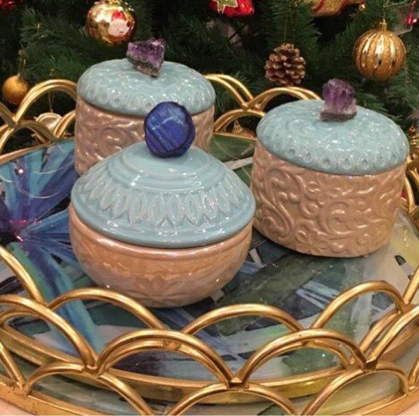 SadeHomeDecor lucky art mavi akik taş kapaklı şekerlik 14 cm (1 adet)