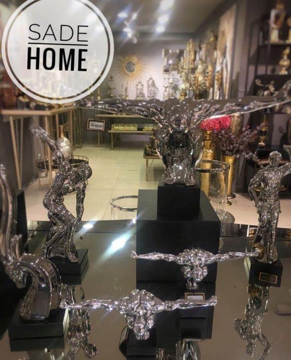 SadeHomeDecor lucky art gümüş renk sporcu biblo 36 cm (1 adet)