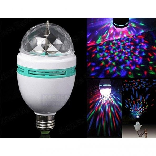 Renkli Led Döner Başlıklı Disko Ampul Gece Lambası