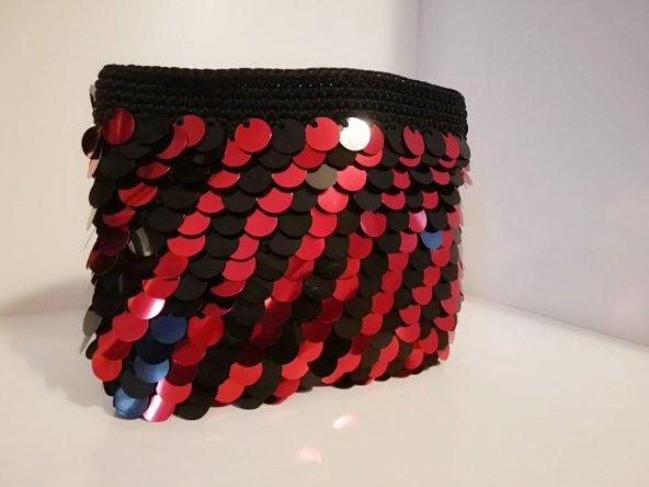 Pullu Clunc Bayan Çanta ( Kırmızı Siyah )