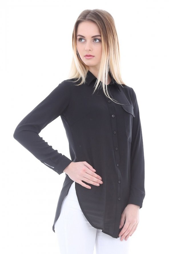 Cep Detaylı Siyah Kadın Gömlek