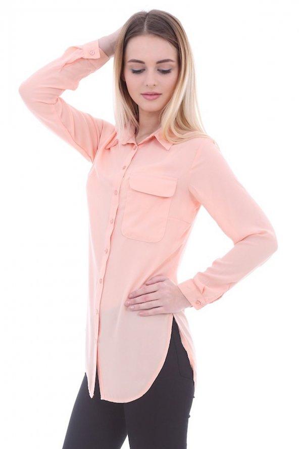 Cep Detaylı Somon Kadın Gömlek