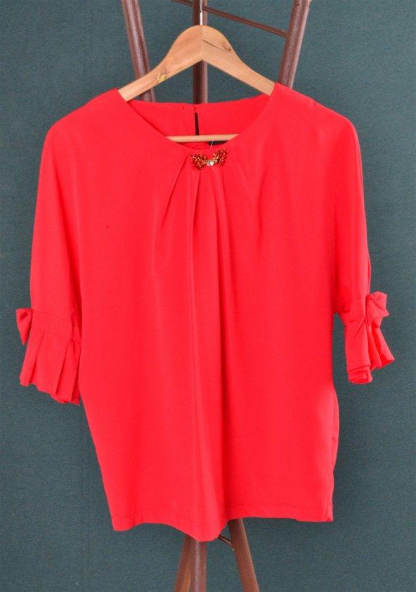 Kolları Fırfırlı Kırmızı Şifon Kadın Bluz