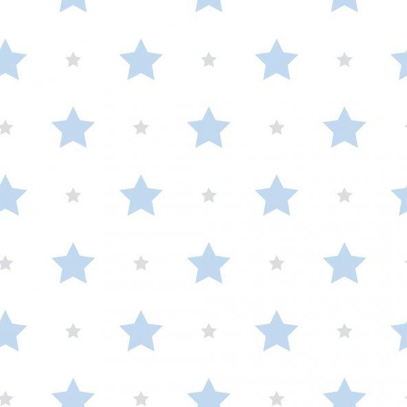 Milky Baby 412-2 Mavi Yıldız Desenli Duvar Kağıdı