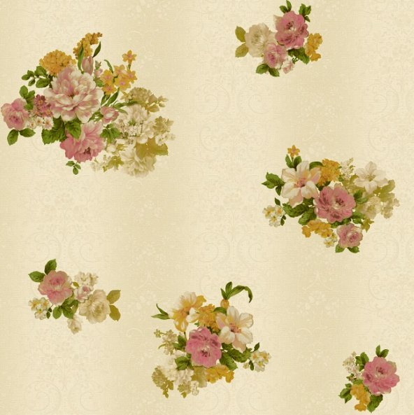 Truva 8603-1 Çiçek Desenli Duvar Kağıdı