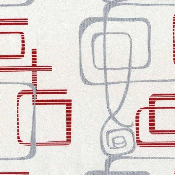 Nadia 9716-3 Gri Kırmızı Modern Desenli Duvar Kağıdı