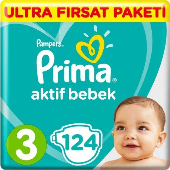 Prima Bebek Bezi Aktif Bebek 3 Beden Midi Ultra Fırsat Paketi 124lü
