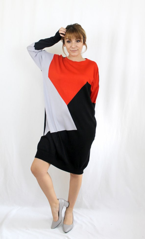 Geometrik Desenli Triko Elbise Cl15727