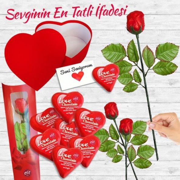 Happyland Tatlı Aşk Kalp ve Güllü Çikolata Hediye Seti 6 ParçaRen