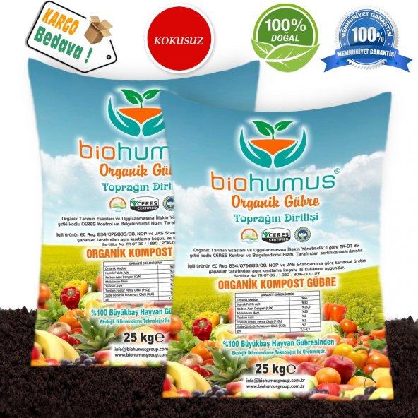 Biohumus Organik Bitki Besin Gübresi 50 Kg İKİLİ