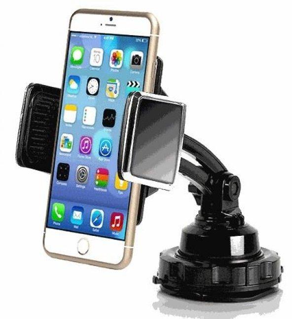 Oto Vantuzlu Kızaklı 360 Derece Dönebilen 4D Telefon Tutucu