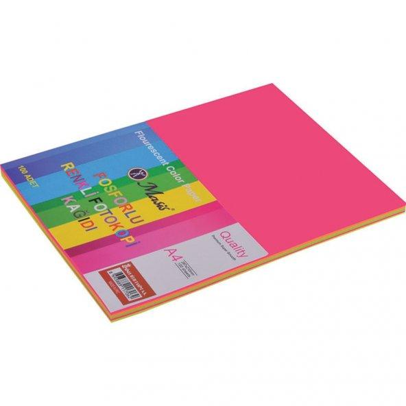 Masis Renkli Kağıt A-4 100'lü Fosforlu