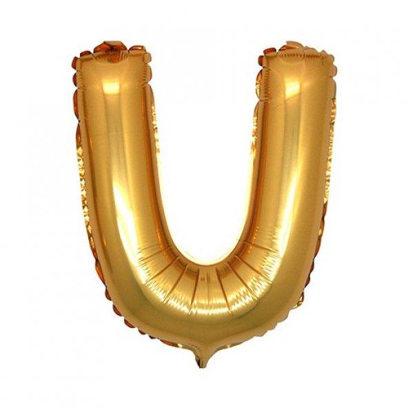 U Harf Altın Folyo Balon 90 cm