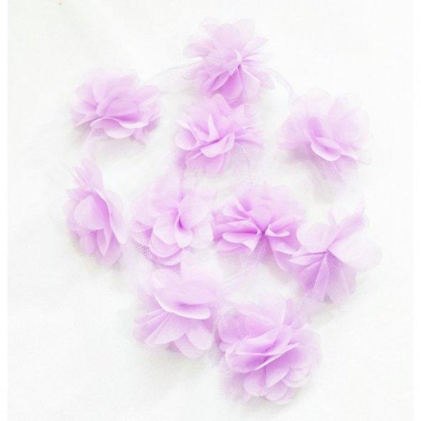 Şifon Çiçek - Lila - 10lu