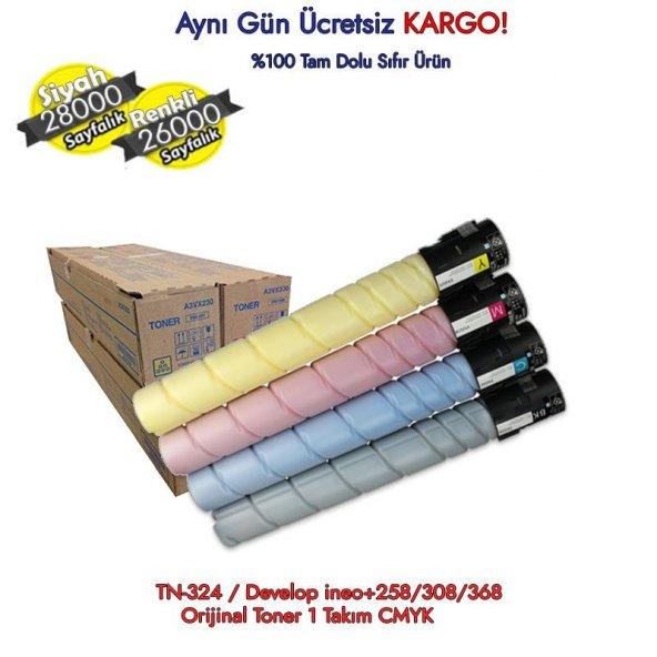 TN-324 / Develop ineo+258/308/368 Orijinal Toner 1 Takım CMYK