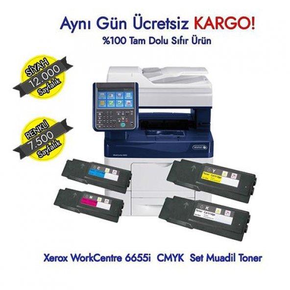 Xerox WorkCentre 6655i 1 Set Muadil Toner - CMYK