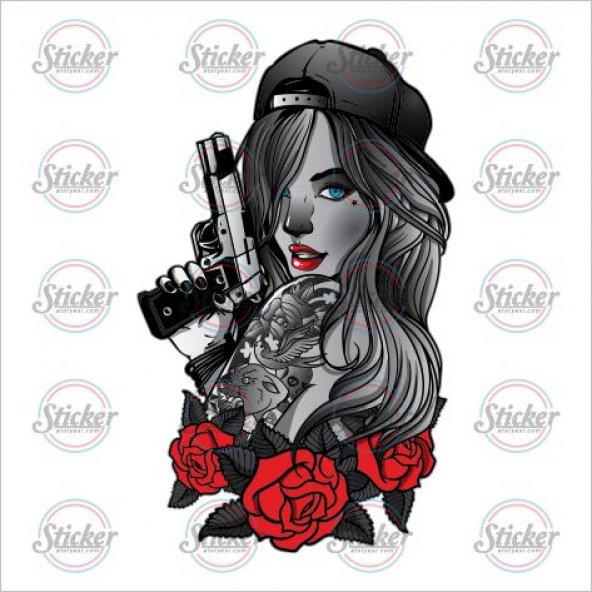 Tabancalı Kız Sticker - 20093