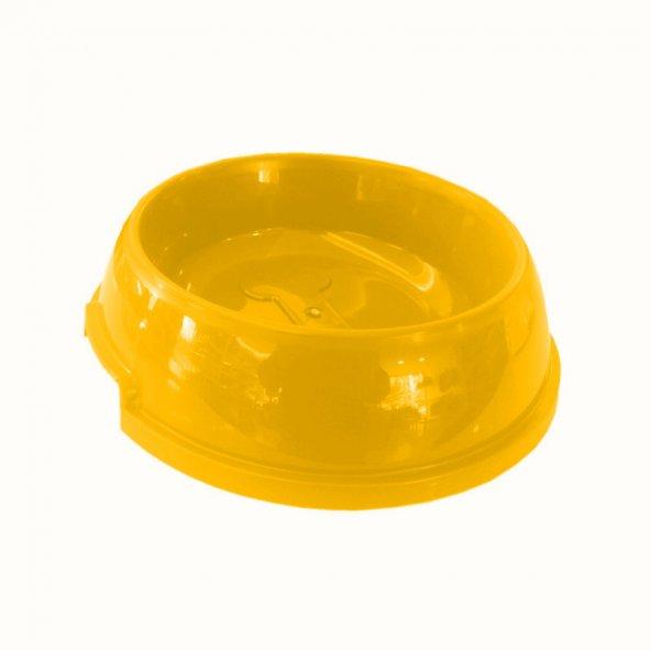 Köpek Mama Su Kabı Kemik Desenli 750 ml Sarı